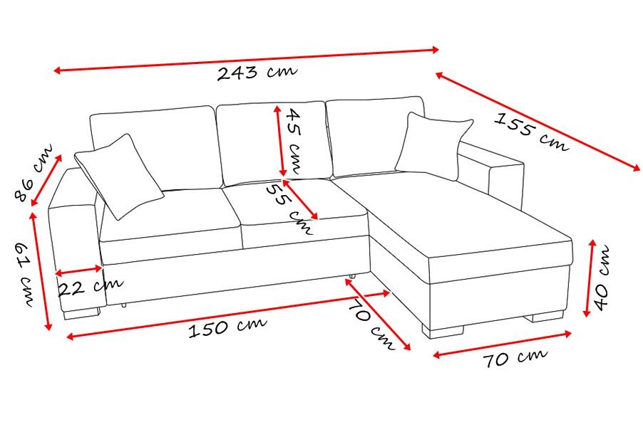 Divano angolo misure il miglior design di ispirazione e - Dimensioni divano angolare ...